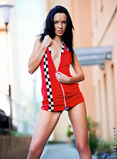Gina Devine : Gina Devine slowly removes her red dress outdoors and shows us her hot nude body
